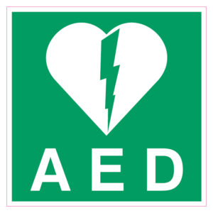 AED sticker Belgie
