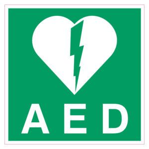 AED sticker Belgie