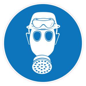 Dragen van helm, gasmasker en zuurbril verplicht