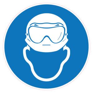 Dragen van helm en zuurbril verplicht