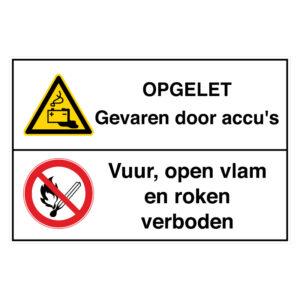 Opgelet: Gevaren door accu's / Vuur, open vlam en roken verboden