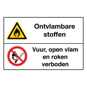 Ontvlambare stoffen / Vuur, open vlam en roken verboden