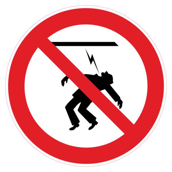 Aanraken van de stroomkabel verboden