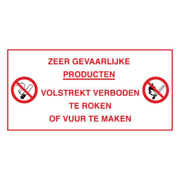 Zeer gevaarlijke producten. Volstrekt verboden te roken of vuur te maken