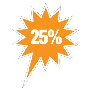 25% korting