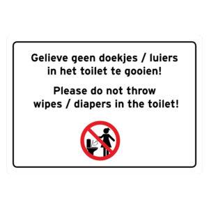 Geen doekjes / luiers in het toilet gooien