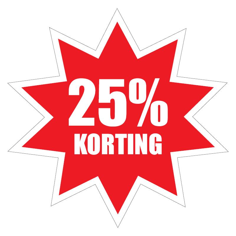 Sticker 25% korting. Sinds 1 juli 2021 mag nog maximaal 25% korting op alcoholische dranken worden gegeven